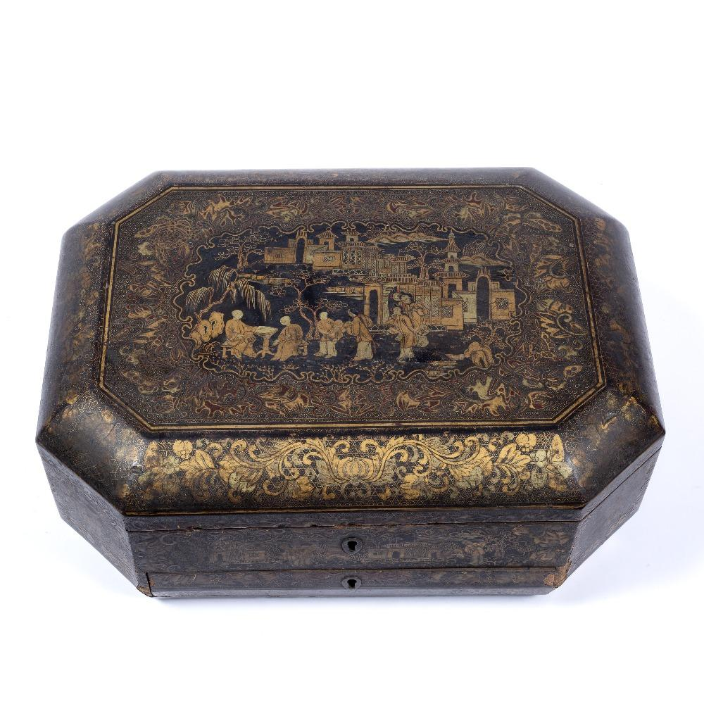 Black Lacquer Sewing Box - Qing Dynasty, Early 19thC