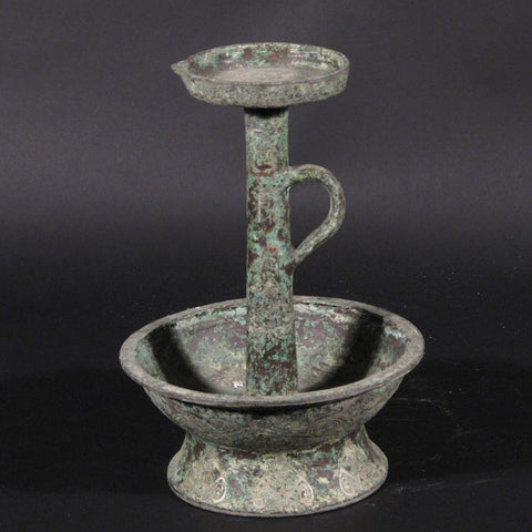 Bronze Candlestick With Silver Inlay - Reproduction