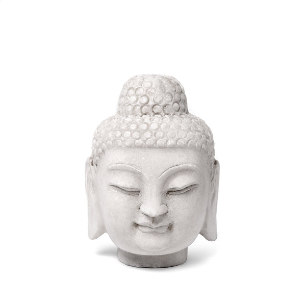 Carved Buddha Head - White Marble