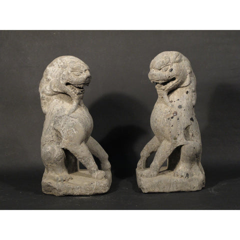 Carved Stone Lion (Pair) 19thC