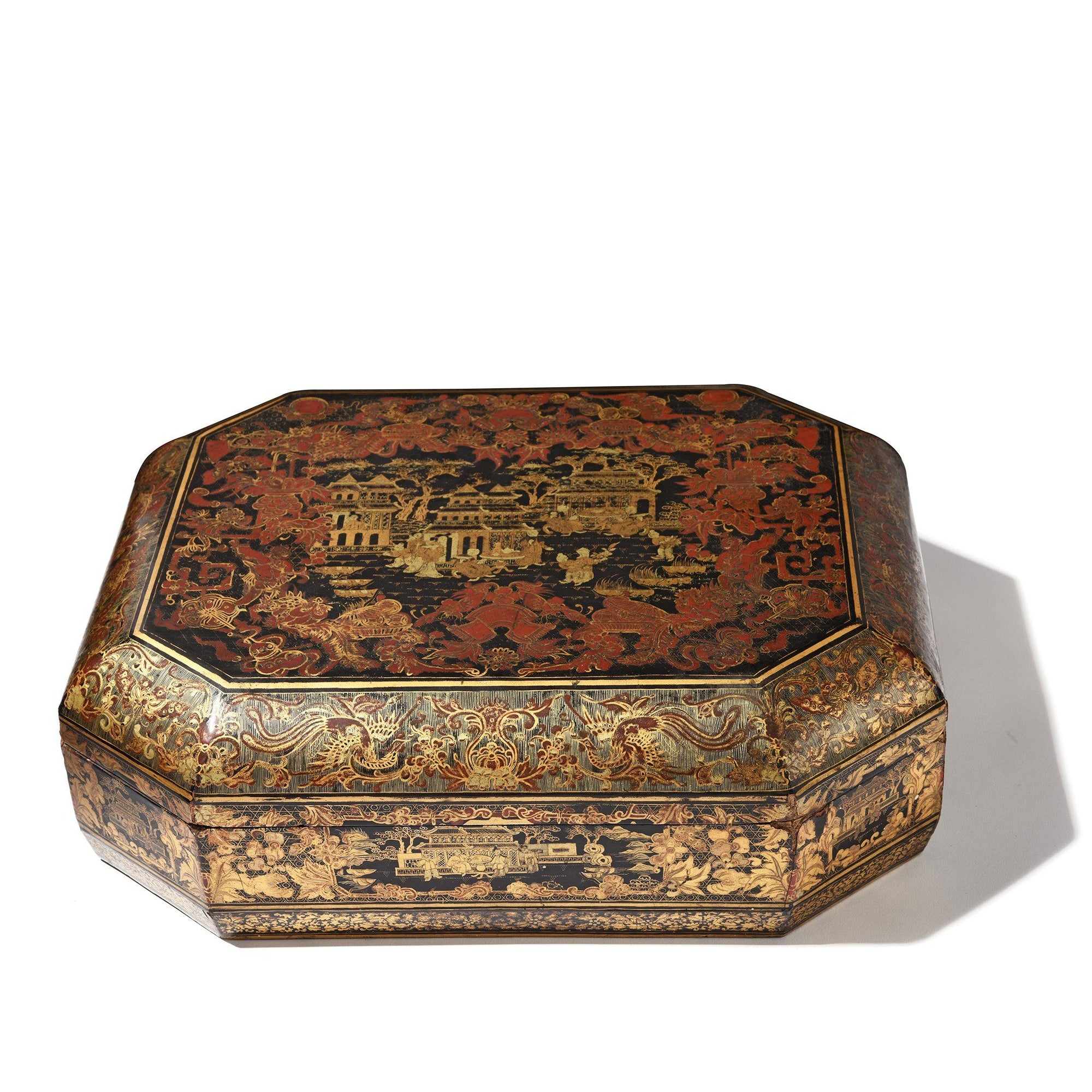 Export Lacquer Games Box - Qing Dynasty Early 19thC - 38 x 31 x 12 cm - M232