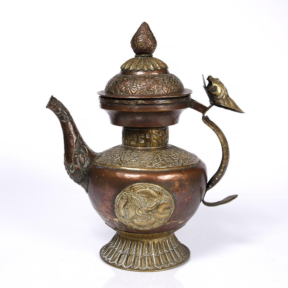 Copper & Brass Tibetan Tea Pot - Ca 100 yrs old | Indigo Oriental Antiques