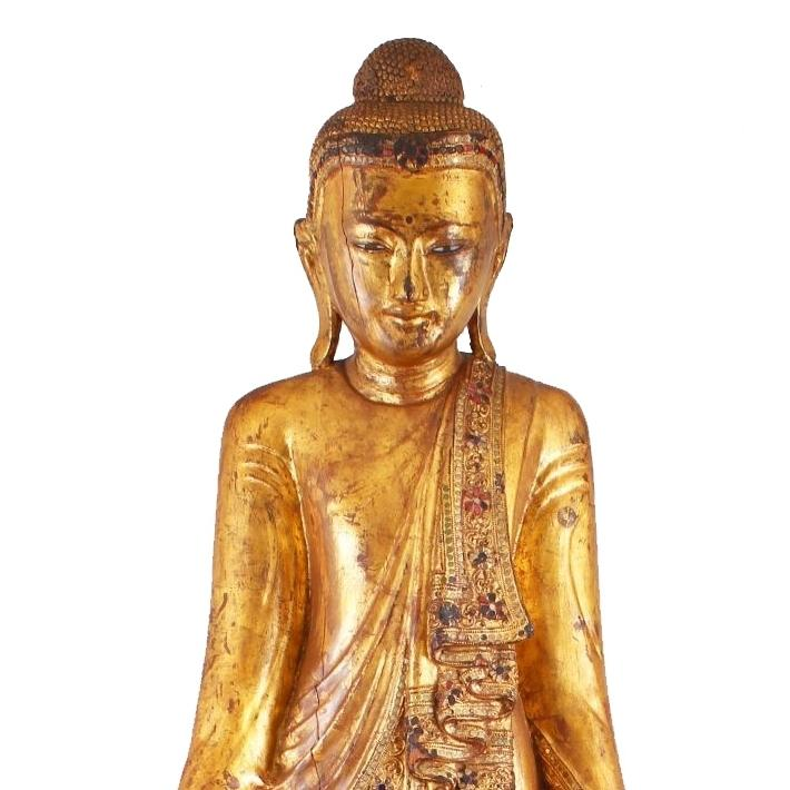 Gilded Teak Burmese Standing Buddha  from Mandalay - Early 20thC - 19 x 16 x 68 cm tall - M316
