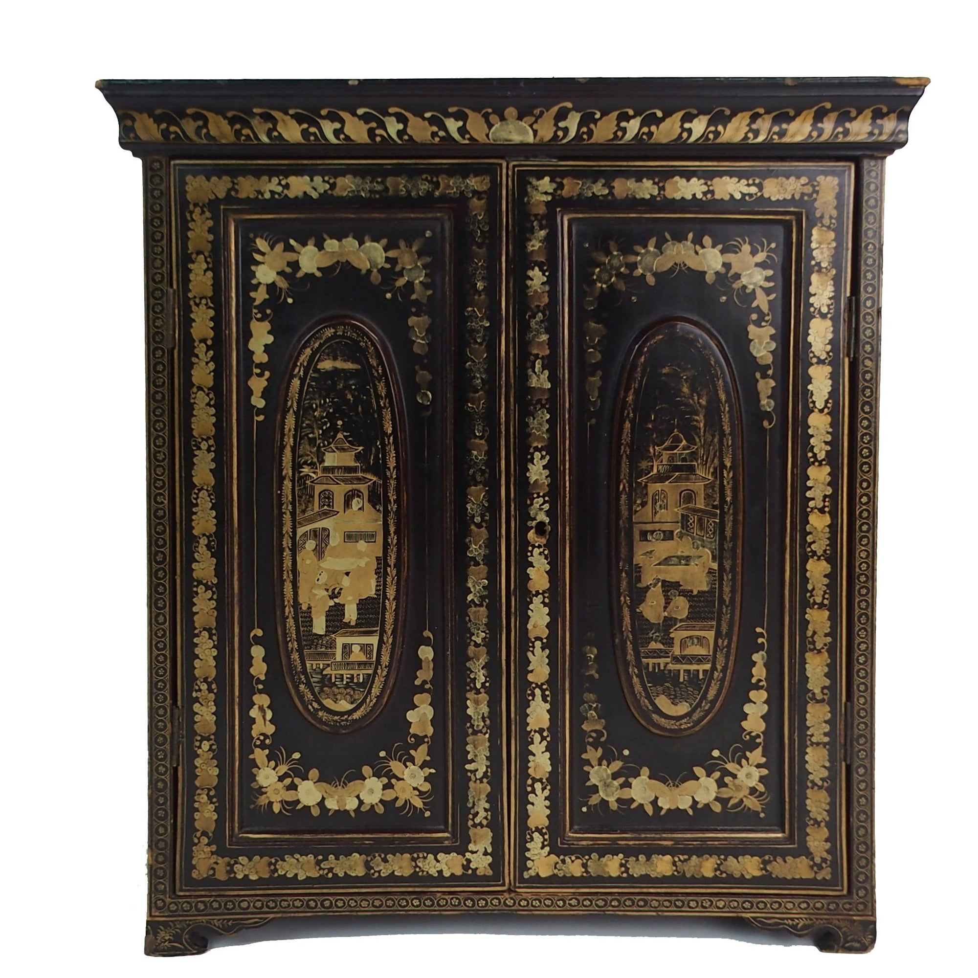 Gilt Black Lacquer Chinoiserie Jewellery Cabinet - Early 19thC - 42 x 20  x 48  (wxdxh cms) - M314