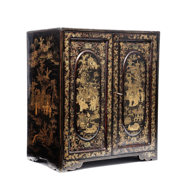 Gilt Black Lacquer Jewellery Cabinet - Early 19thC