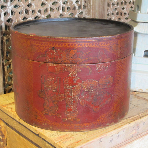 Red Lacquer Hat Box From Shanxi - 19thC