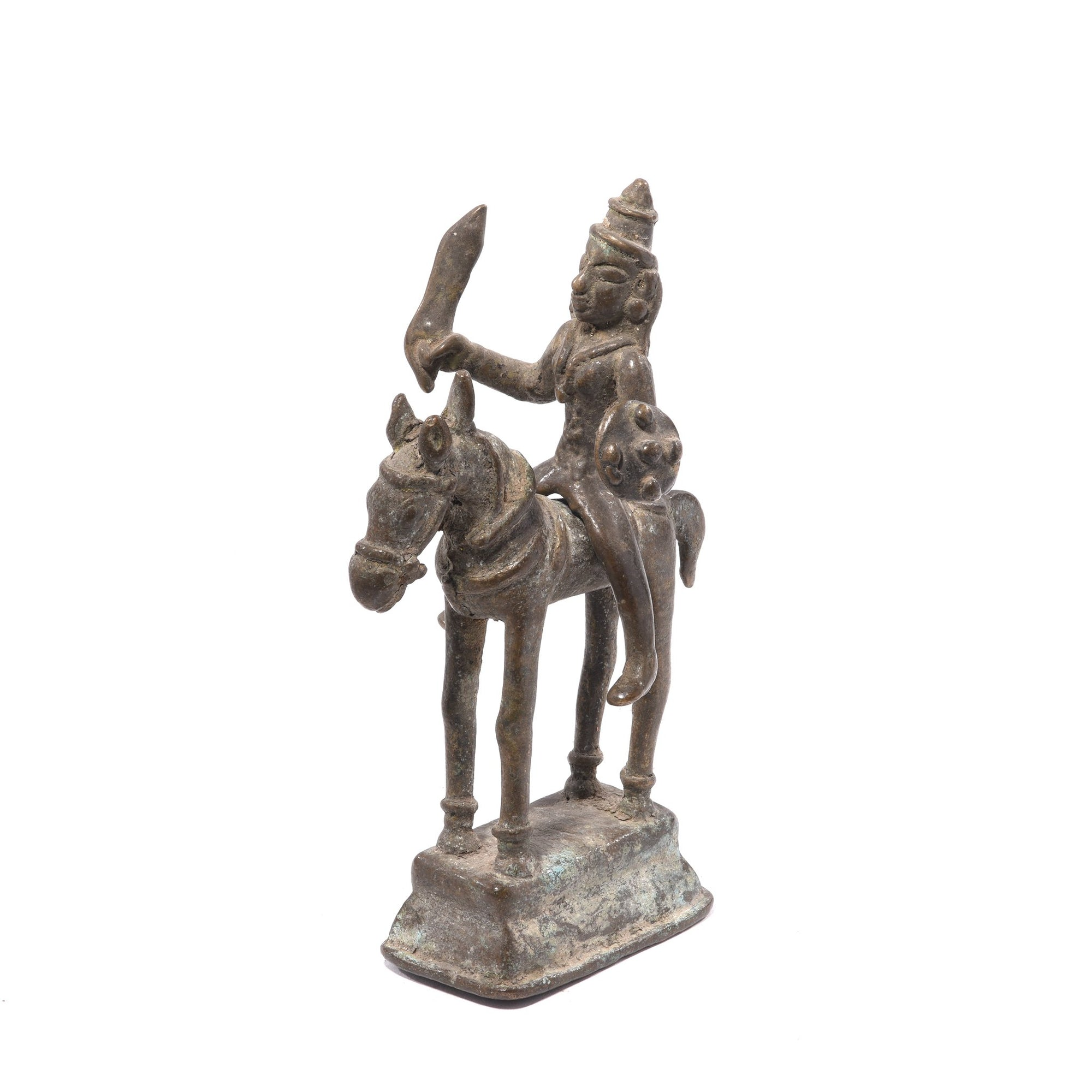 Brass Indian Horse & Rider Figurine from Andhra Pradesh - 19thC | Indigo Oriental Antiques