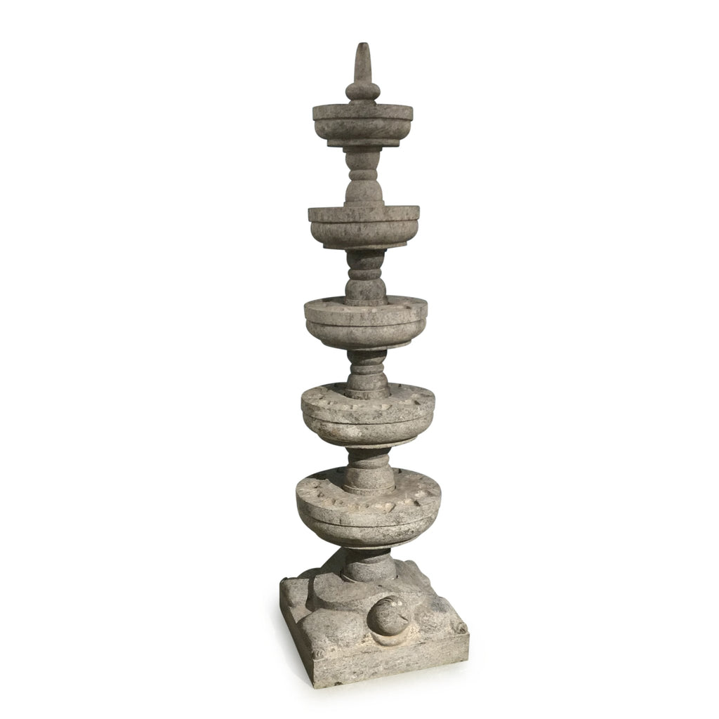 Carved Granite Lamp From Kerala - 5 Tier - Ca 1940