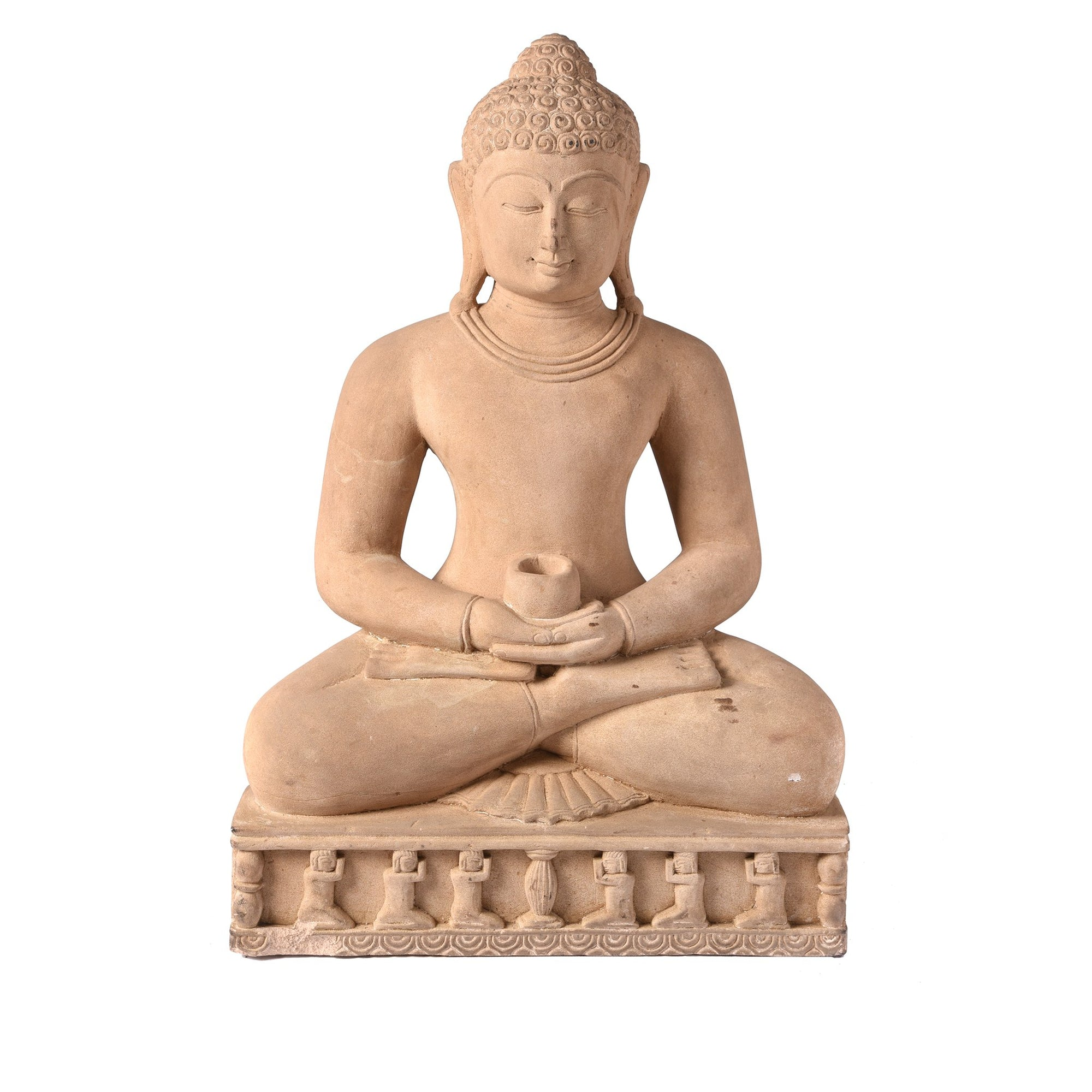 Carved Stone Sitting Buddha Statue in Dhyana Mudra Pose From Patna | Indigo Antiques