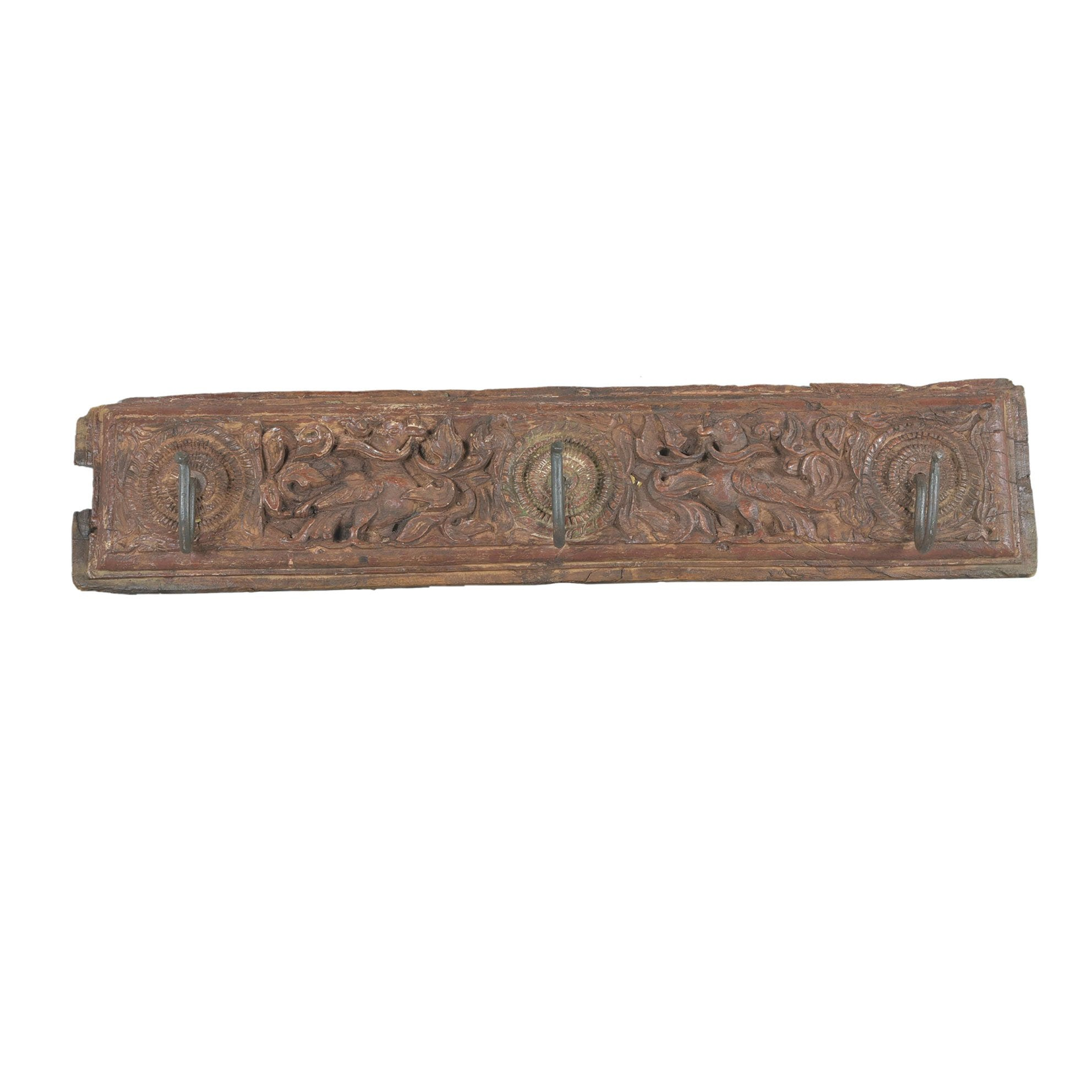 Carved Teak Coat Hook from Kerala - 19thC | Indigo Oriental Antiques