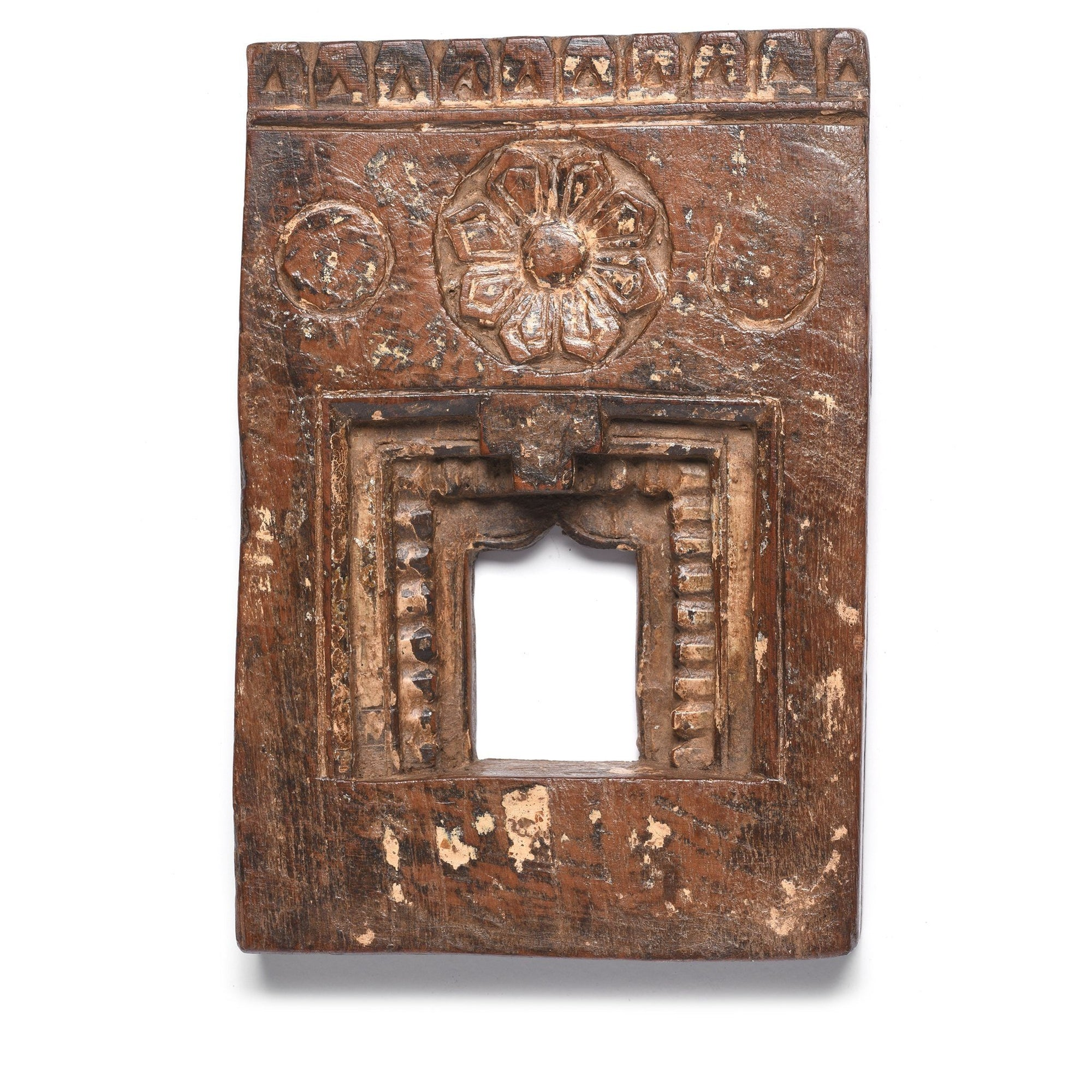 Carved Teak Votive Panel from Andra Pradesh - 19thC - 11.5 x 2.5 x 19.5  (wxdxh cms) - A6354V2