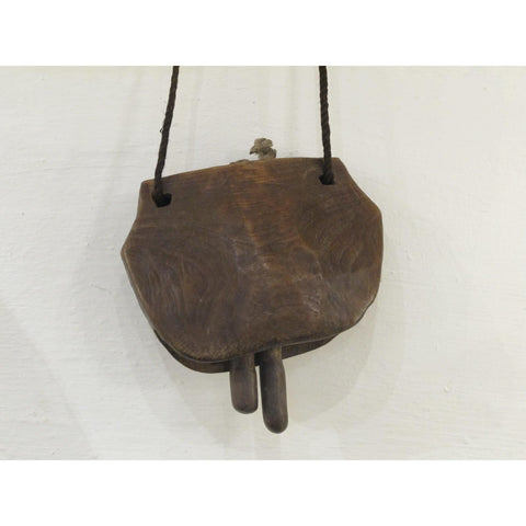 Cow Bell Carved Teak - From Rajasthan 50-75yrs Old