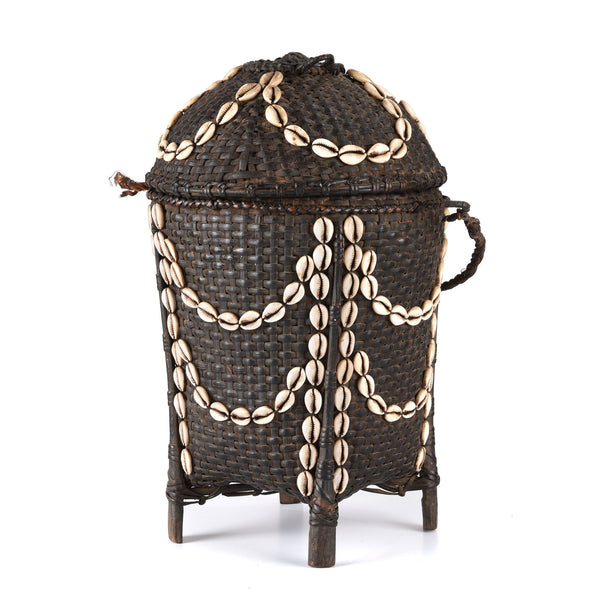 Cowrie Decorated Tribal Basket From Nagaland - Ca 1930