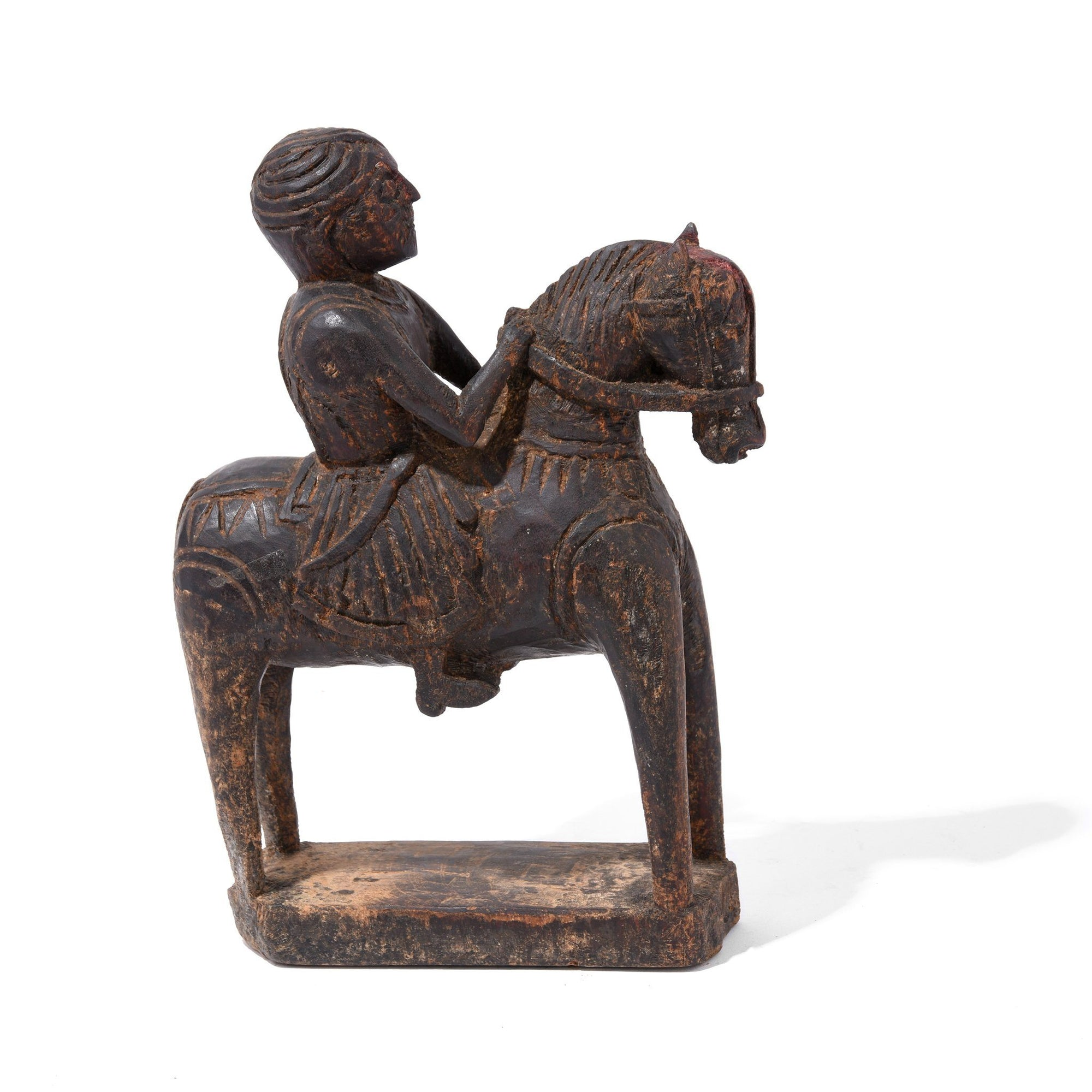 Indian Chip Carved Horseman Figurine From Kutch - 19thC | Indigo Antiques