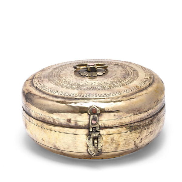 Large Brass Indian Chapatti Box - Ca 1900