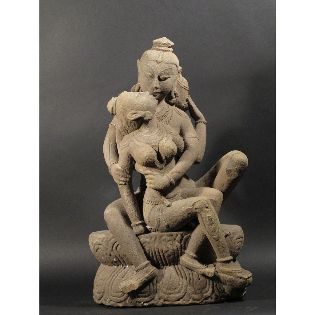 Museum Quality Stone Carving of Shiva & Parvati