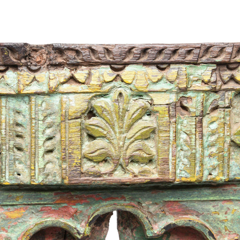 Old Green Painted Window From Banswara Tribal Area - 19thC