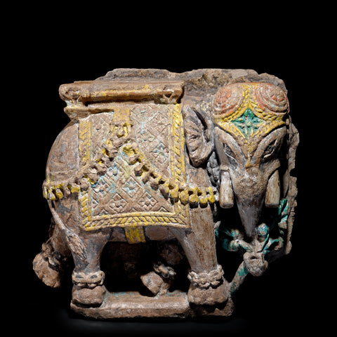Old Painted Stone Elephant Statue From Gujarat - 19thC