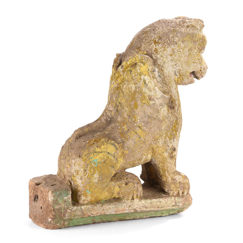 Old Painted Stone Lion Statue From Gujarat - 19thC