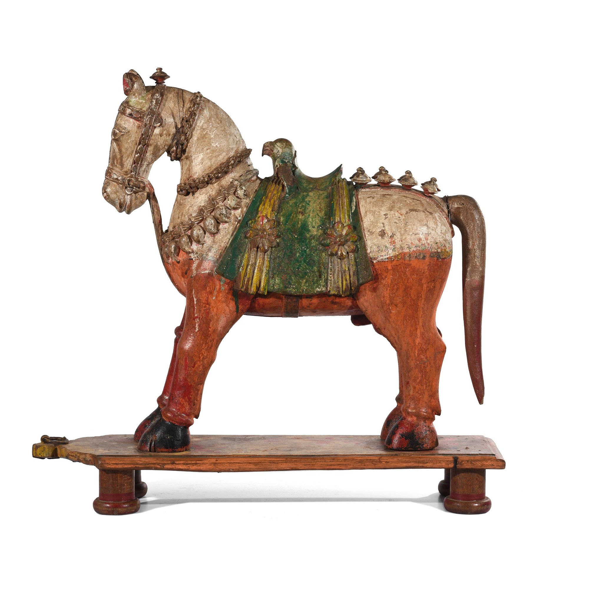 A rare painted teak horse from Patan, India carved in the 19th century.