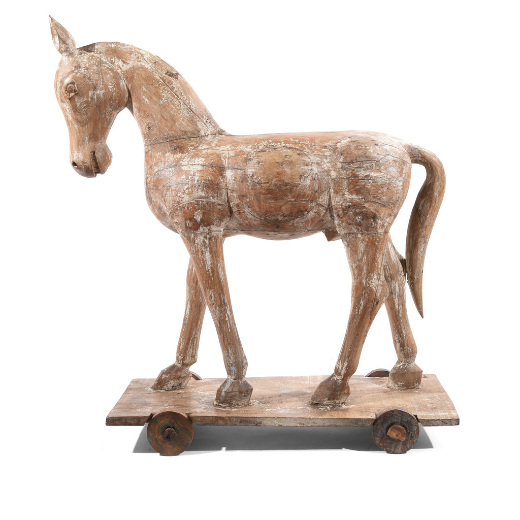 Painted Carved Temple Horse From Rajasthan - Ca 1930