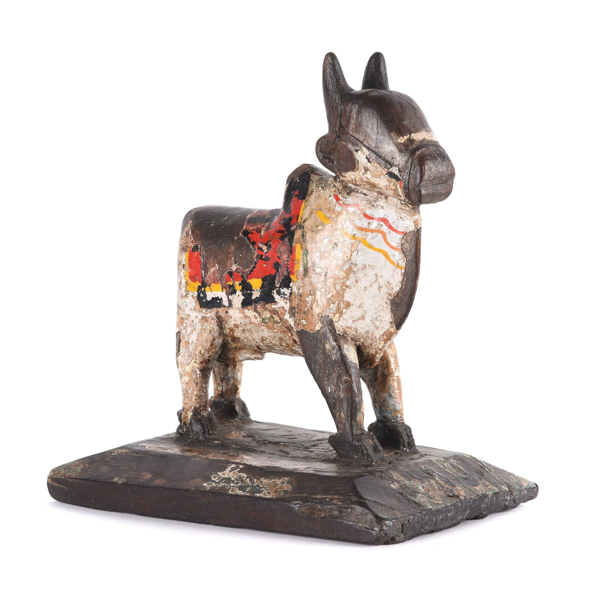 Painted Indian Nandi Bull Figurine From Rajasthan - Ca 1920 | Indigo Antiques