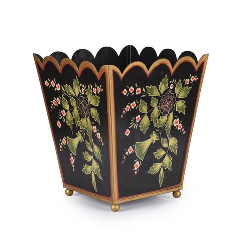 Painted Toleware Planter / Waste Paper Bin