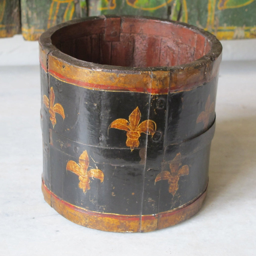 Painted Wood Pot Holder From Rajasthan