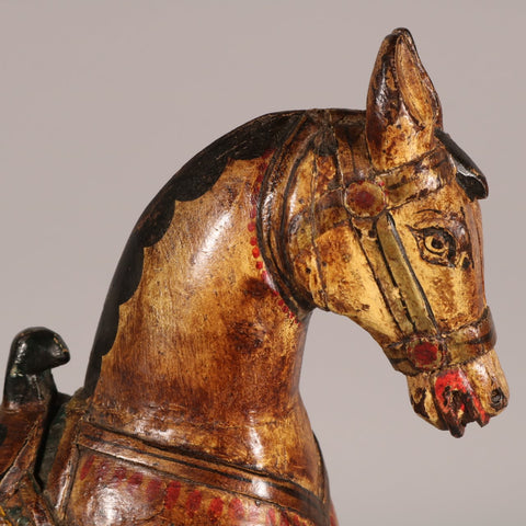 Painted Wooden Horse From Rajasthan