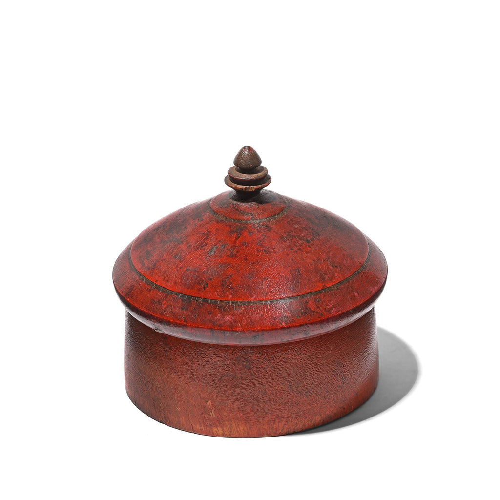 Red Lacquer Pot From Himachal Pradesh - Early 20thC