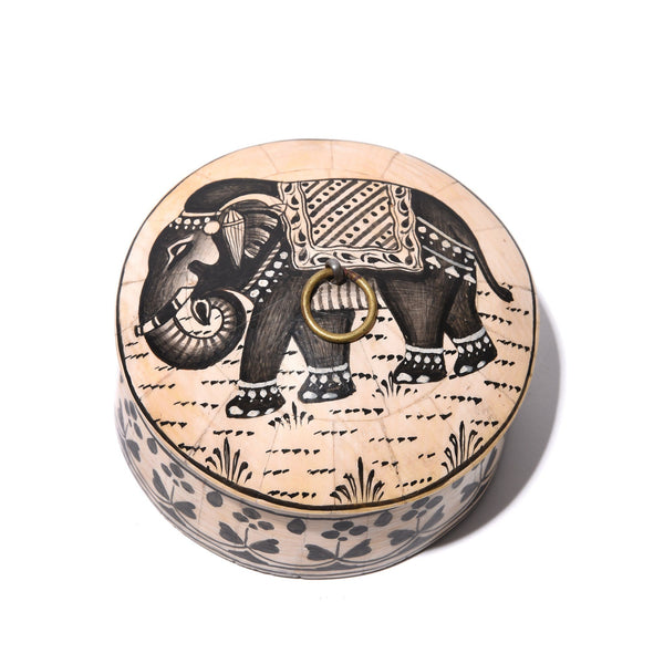 Round Inlay Trinket Box - Elephant Design