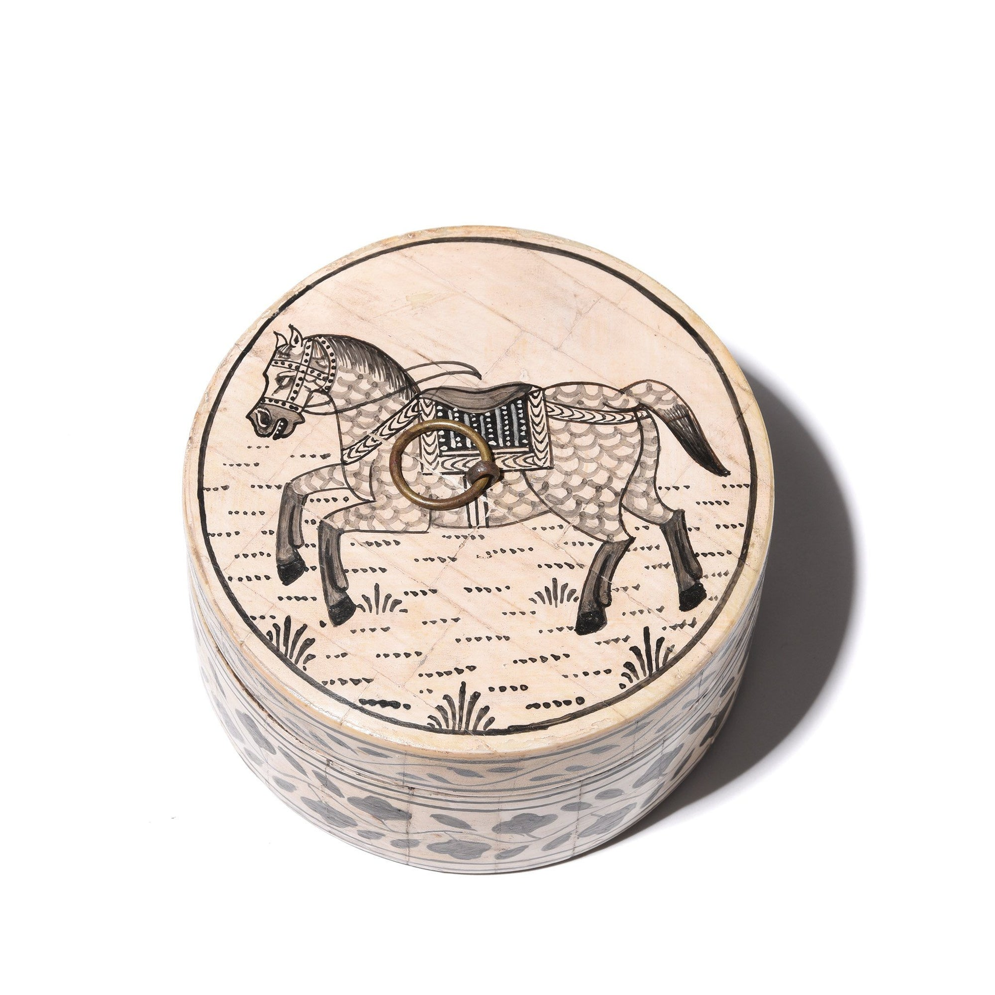 Round Bone Inlay Indian Horse Trinket Box | Indigo Antiques