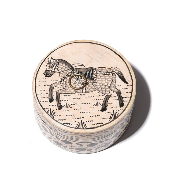 Round Inlay Trinket Box - Horse Design