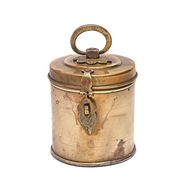 Vintage Indian Brass Food Caddy - Ca 1940