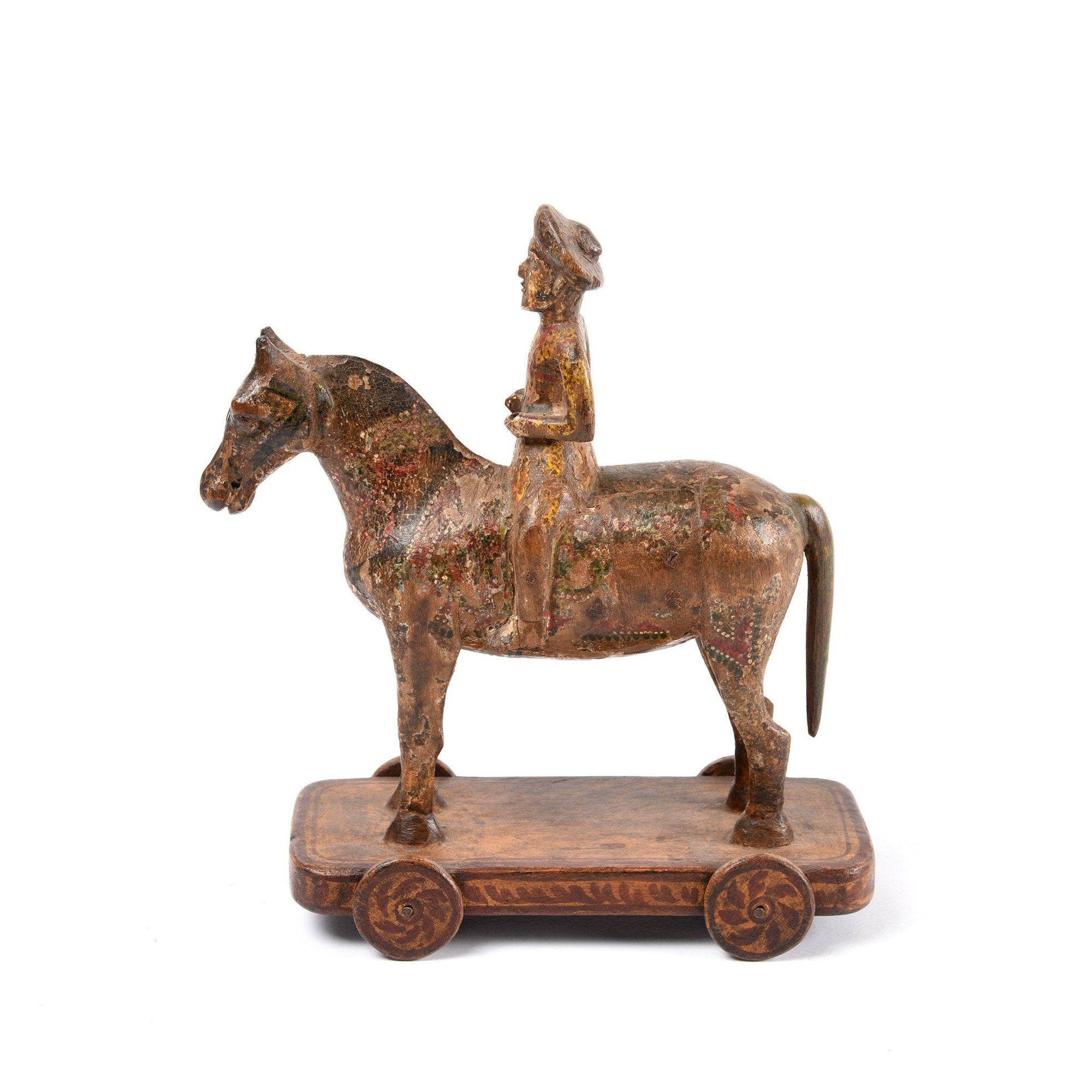 Wooden Painted Horse Wheeltoy - 19thC | Indigo Antiques