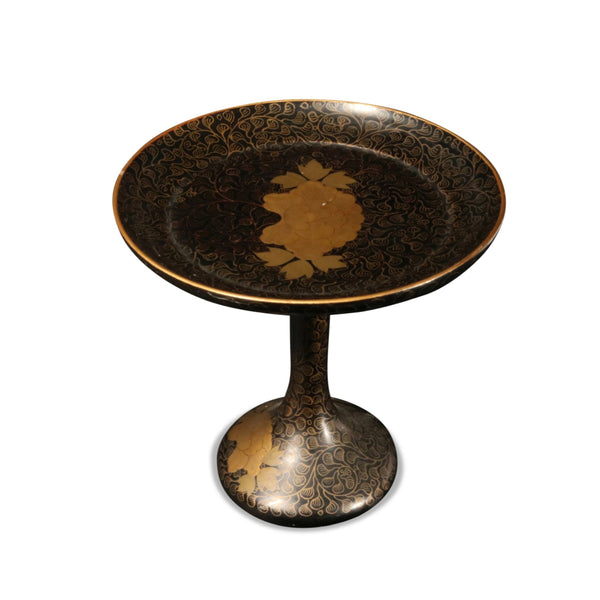 Black Lacquer Stand With Gold Decoration - Ca 1930