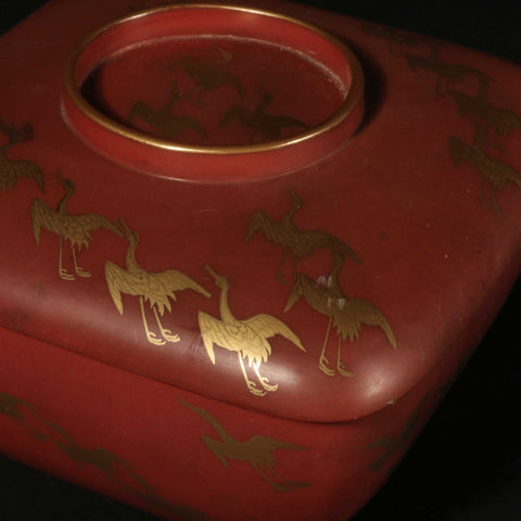 Red Lacquer Gilt Box With Crane Decoration On Stand - Ca 1930