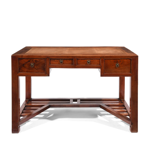 Red Elm Desk With Cane Top From Shanghai - 19thC
