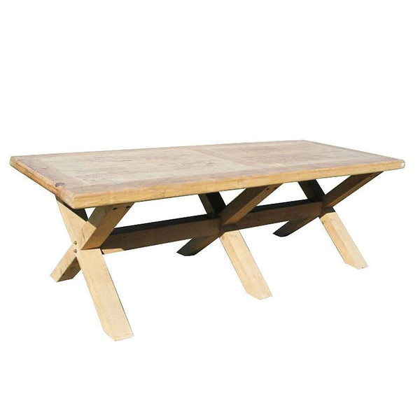 8 - 10 Seater Dining Table Made From Old Pine - X Leg Design