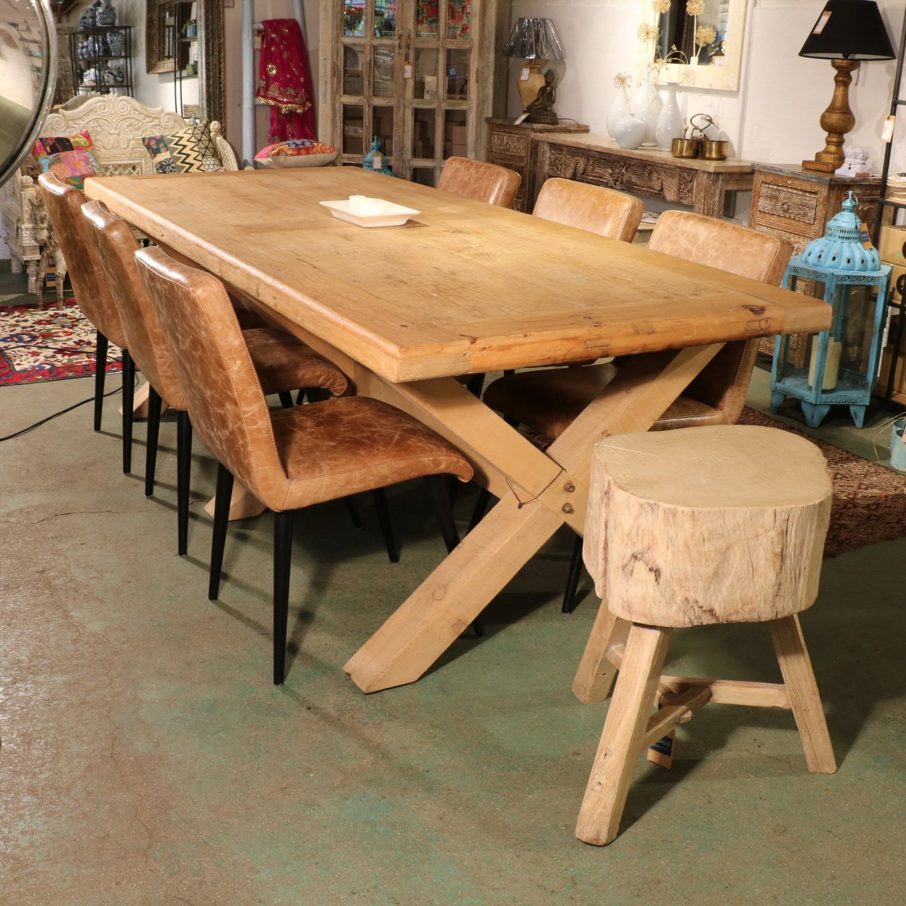 8 - 10 Seater Dining Table Made From Old Pine - X Leg Design | Indigo Oriental Antiques