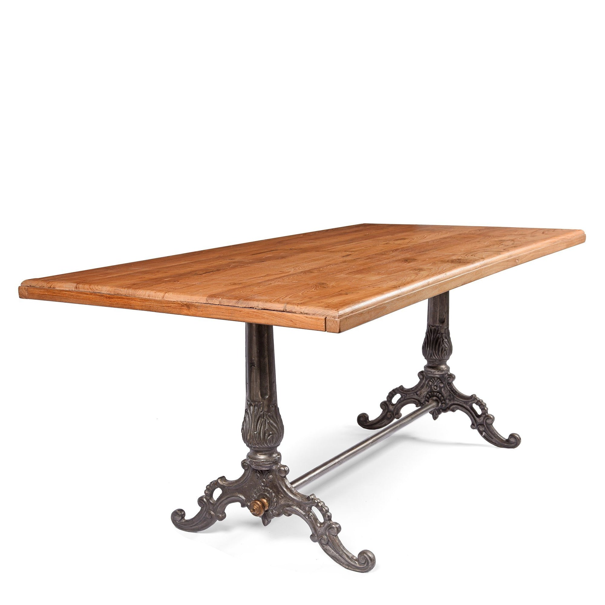 Teak Dining Table With Iron Base - Victorian Style | Indigo Oriental Antiques