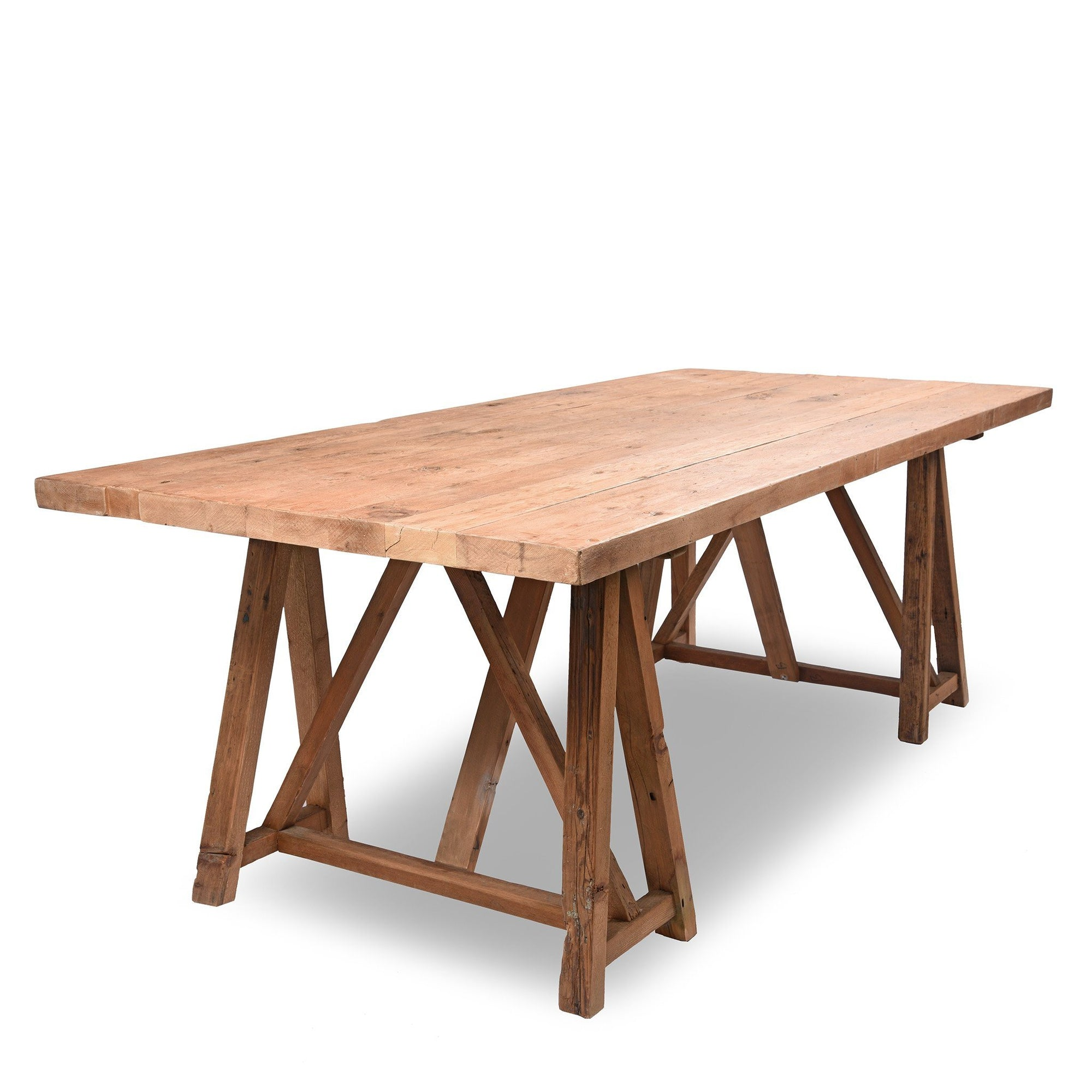 Trestle Dining Table Made From Reclaimed Pine | Indigo Antiques