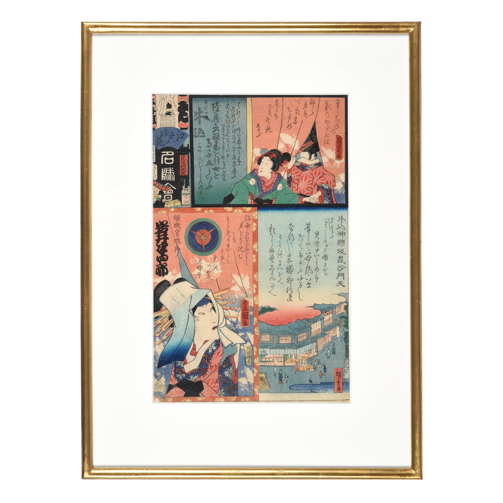 Framed Japanese Harimazee Ladies Woodblock Print - Edo Period | Indigo Antiques