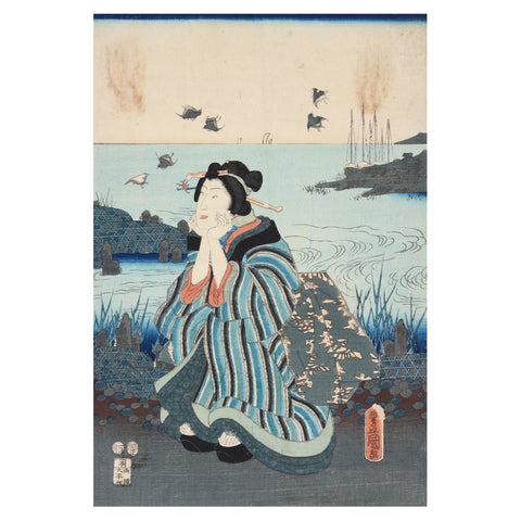 Framed Japanese Woodblock Print by Kunisada - Edo Period