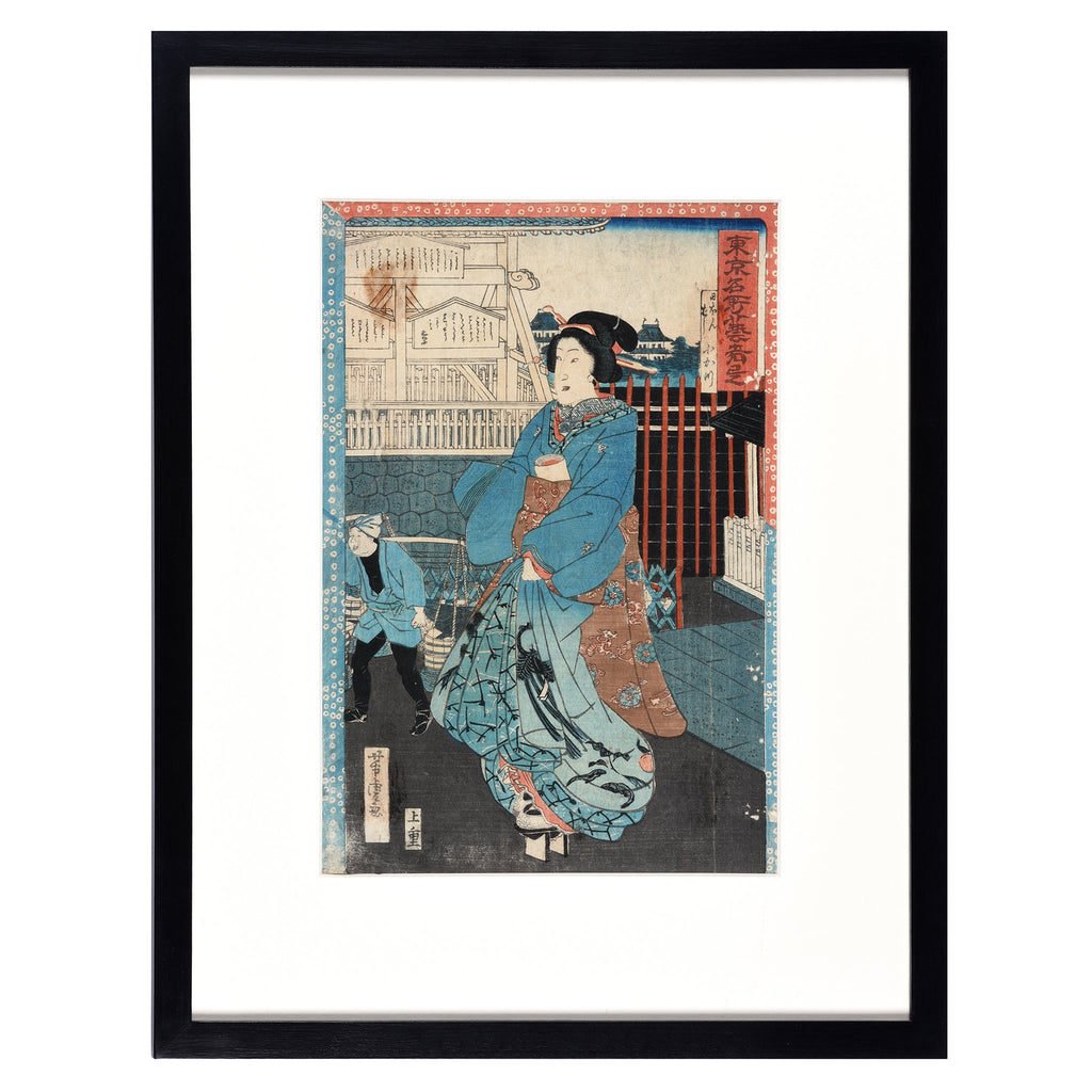 Framed Japanese Woodblock Print - Meiji Period