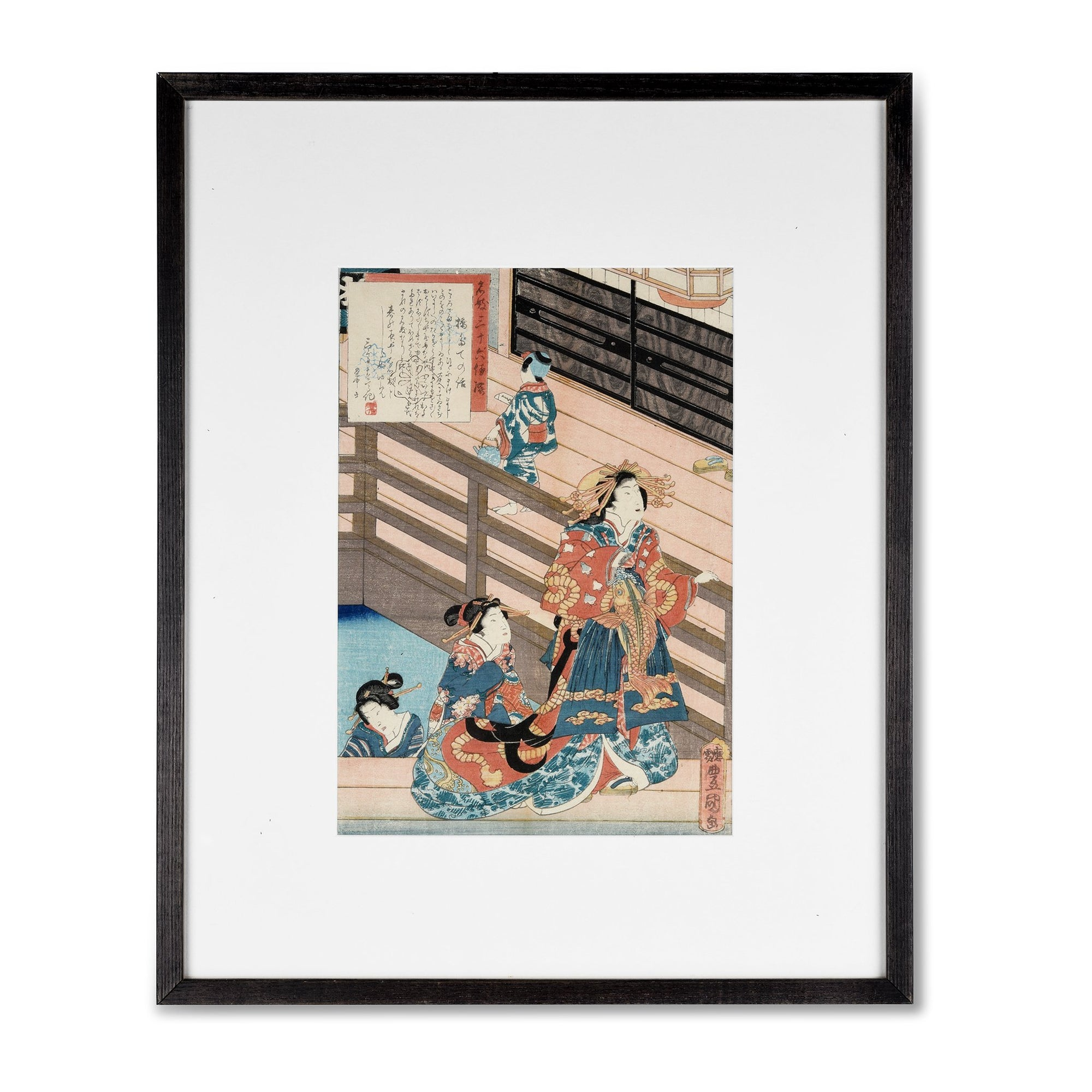 Framed Japanese Woodblock Print of Courtesans by Hashidate - Ca 1860 | Indigo Oriental Antiques