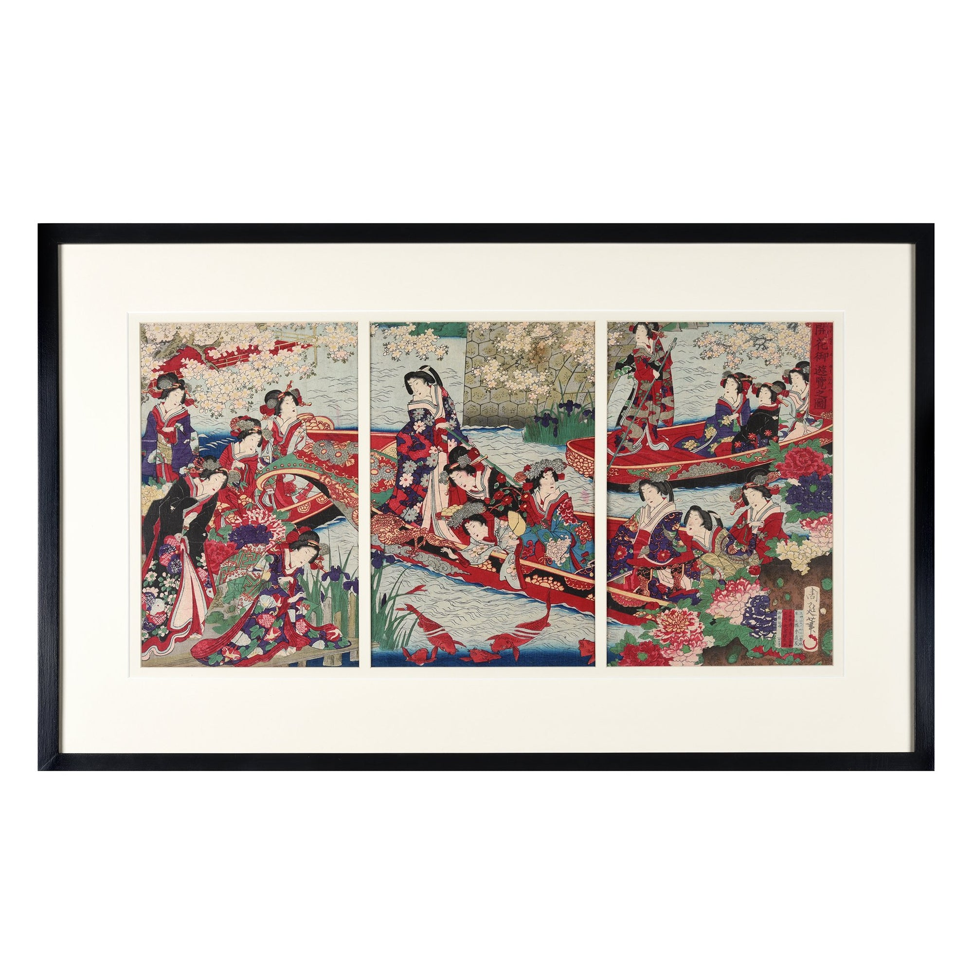 "Framed Original Triptych Japanese Woodblock Print of ""Meiji Empress on Pleasure Boat"" by Toyohara Chikanobu Ca 1890 