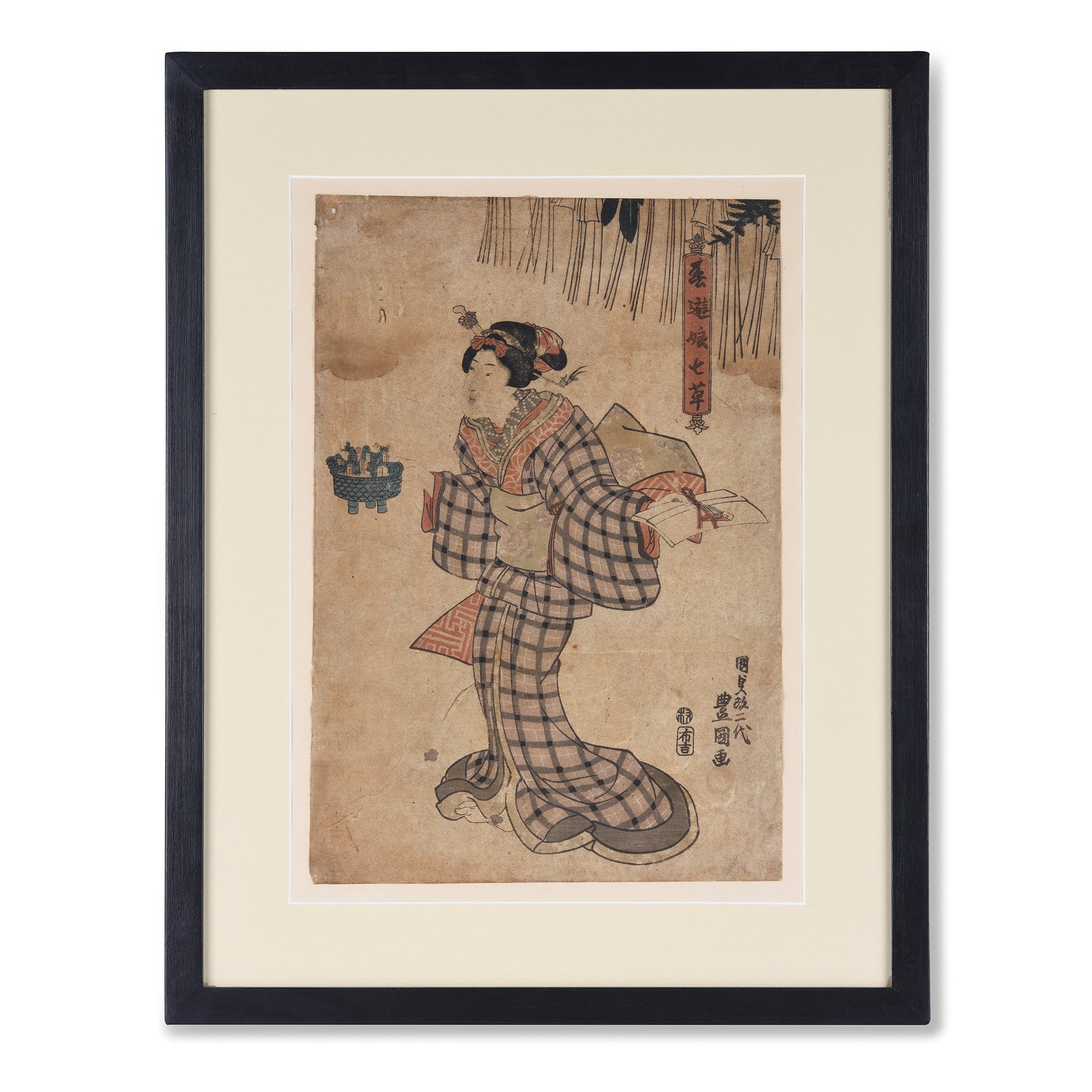 Framed Woodblock Print of a Geisha - 19thC | Indigo Oriental Antiques