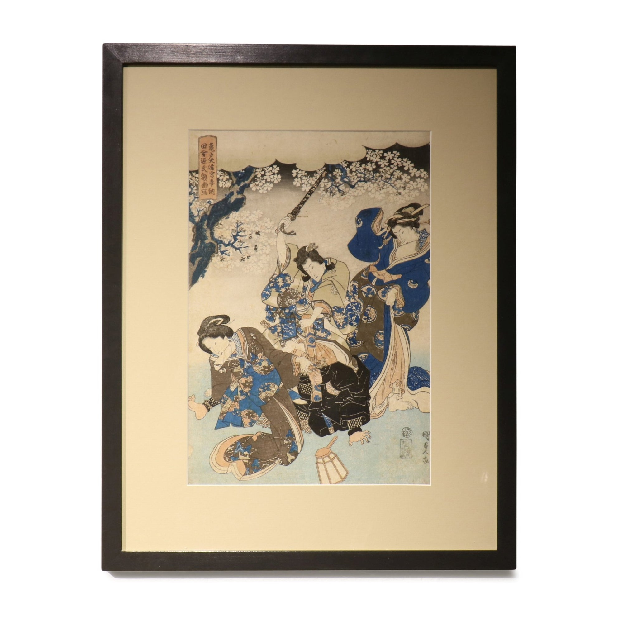 Old Framed Japanese Oban Woodblock Print By Utagawa Kunisada - 19thC | Indigo Oriental Antiques