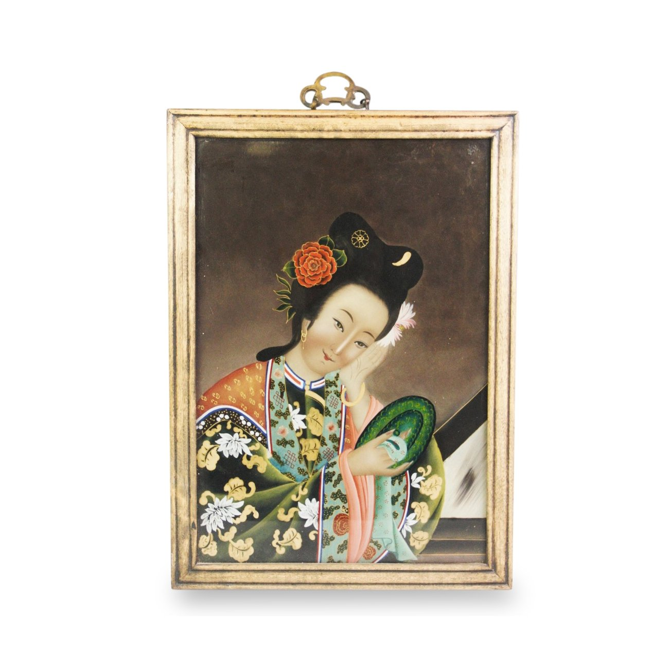 Vintage Chinese Reverse Glass Painting Of A Courtesan  - Ca 1930's